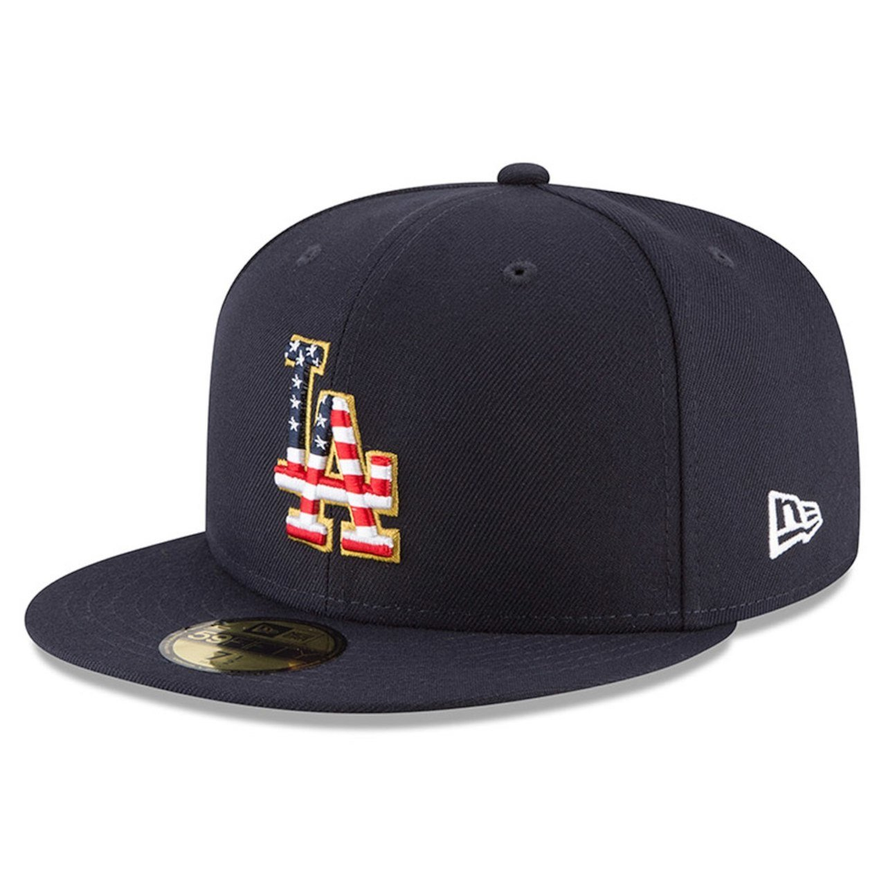 newest collection f1a02 07347 Amazon.com  New Era Los Angeles Dodgers Navy 4TH of July Cap 59fifty 5950  Fitted MLB Limited Edition  Clothing