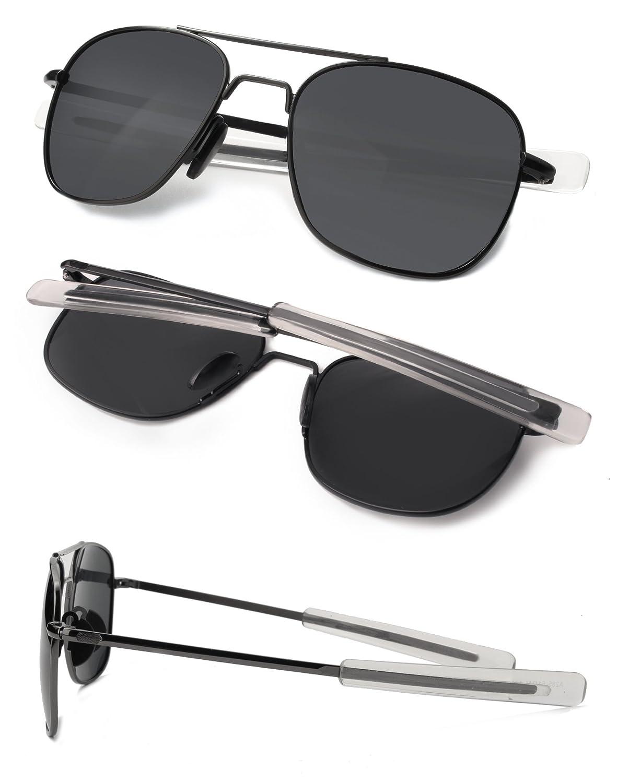 FAPIR Herren Aviator Sonnenbrille Polarisierte Verspiegelt Eckig 55mm UV400 Schutz 9DMGEryi