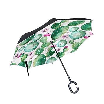 DragonSwordlinsu Cactus Plants - Paraguas invertido de Doble Capa para Coche y Exterior, Resistente al
