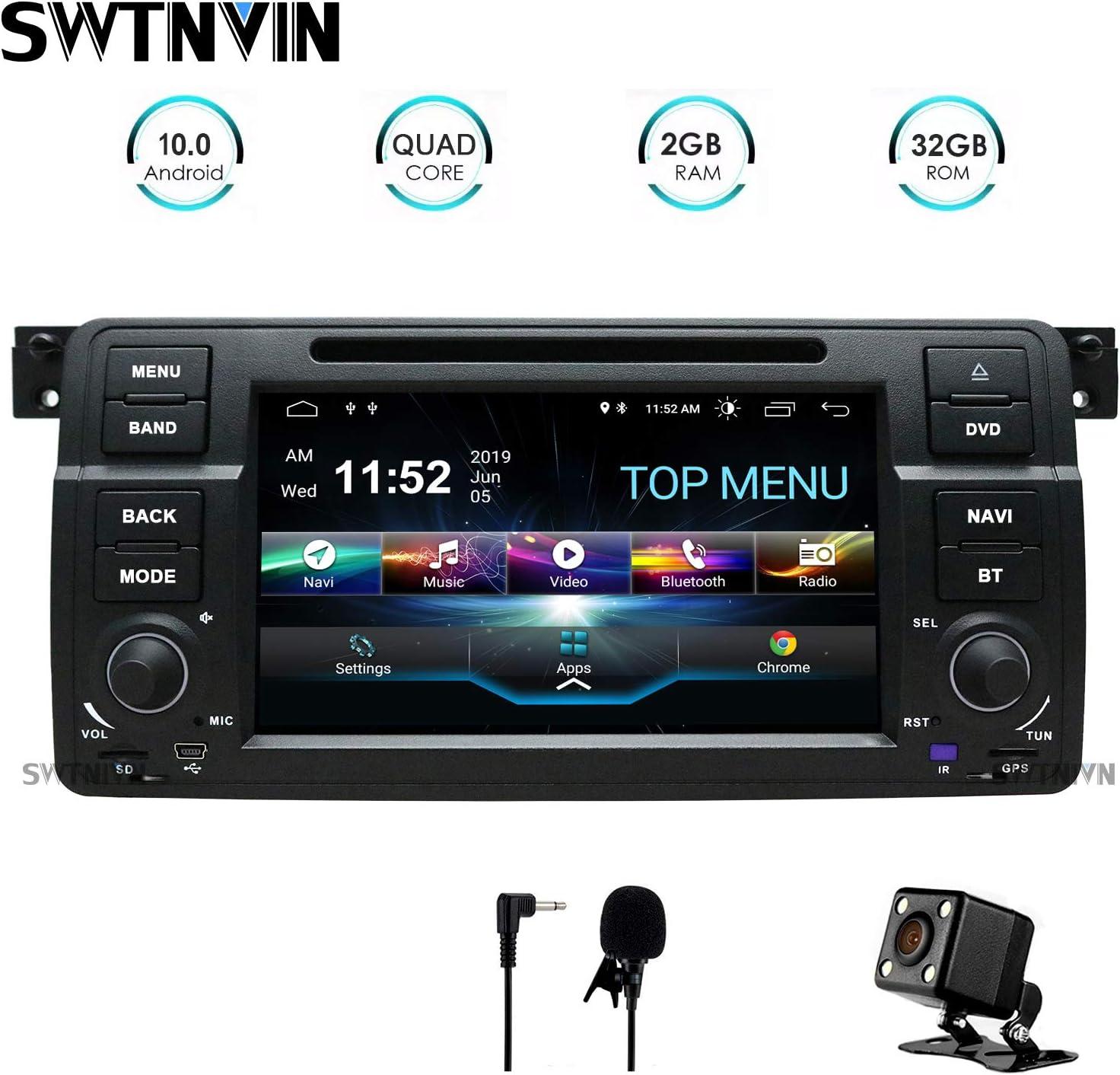 SWTNVIN Android 10.0 Coche Audio Cabezal estéreo se Adapta a BMW E46 Reproductor de DVD Radio 7 Pulgadas HD Pantalla táctil navegación GPS con Bluetooth WiFi Volante Control 2GB + 32GB