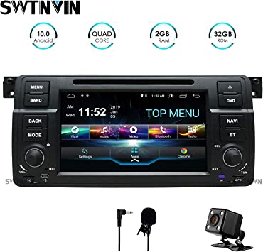 Swtnvin Android 10 0 Auto Audio Stereo Kopfeinheit Passt Für Bmw E46 Dvd Player Radio 7 Zoll Hd Touchscreen Gps Navigation Mit Bluetooth Wifi Lenkradsteuerung 2gb 32gb Navigation