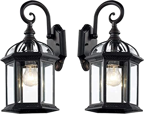 Wall Lanterns Weather-Resistant Outdoor Lamps Decorative Scroll Sconce Arm, Scalloped Edges Clear Beveled Glass for Front Porch, Backyard Gardens Black- 2 Pack