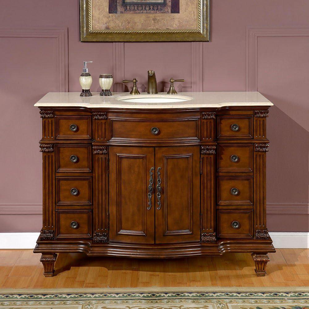 Silkroad Exclusive Hyp-0277-Cm-Uwc-48 Gorgeous Ceramic Marble Top Single Sink Bathroom Vanity with Cabinet, 48 , Medium Wood