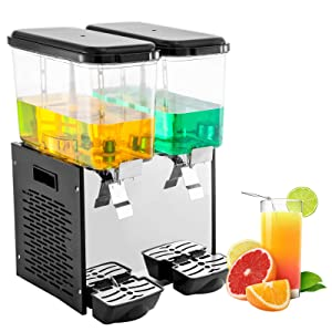 VEVOR 110V Commercial Cold Beverage Dispenser Machine 9.5 Gallon 2 Tanks Ice Tea Drink Dispenser 300W Stainless Steel Fruit Juice Equipped with Thermostat Controller