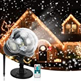 Christmas Snowfall Projector Lights, Syslux Indoor Outdoor Holiday Lights with Remote Control White Snow for Halloween Xmas P
