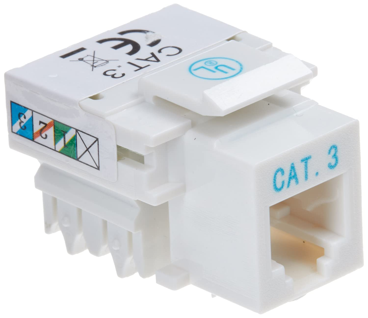 Cat 3 Cable To Phone Jack Wiring Diagram Telephone Rj11 12 Punch Down Type Keystone White Intellinet 502795 Home Audio Theater