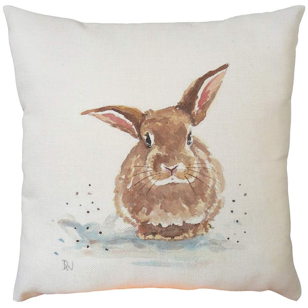 Pillow Covers 18x18 Home Decor Cushion Cover Easter Festival Series Rabbit Throw Pillowcase Pillow Covers,Rabbit Pillowcase Home Decoration Pillowcase Color F, Throw, Farmhouse Decorative Pillow Case