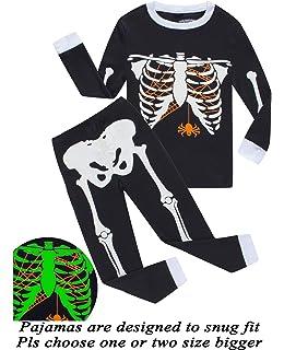 Dolphin&Fish Girls Halloween Pajamas Kids Pjs Skeleton Glow-in-The-Dark Toddler Halloween