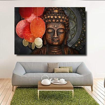 Natvva Buddha Canvas Painting Wall Art Wood Buddha Statue Canvas Prints Keep Inner Peaceful Buddha Artwork For Living Room Yoga Room No Frame