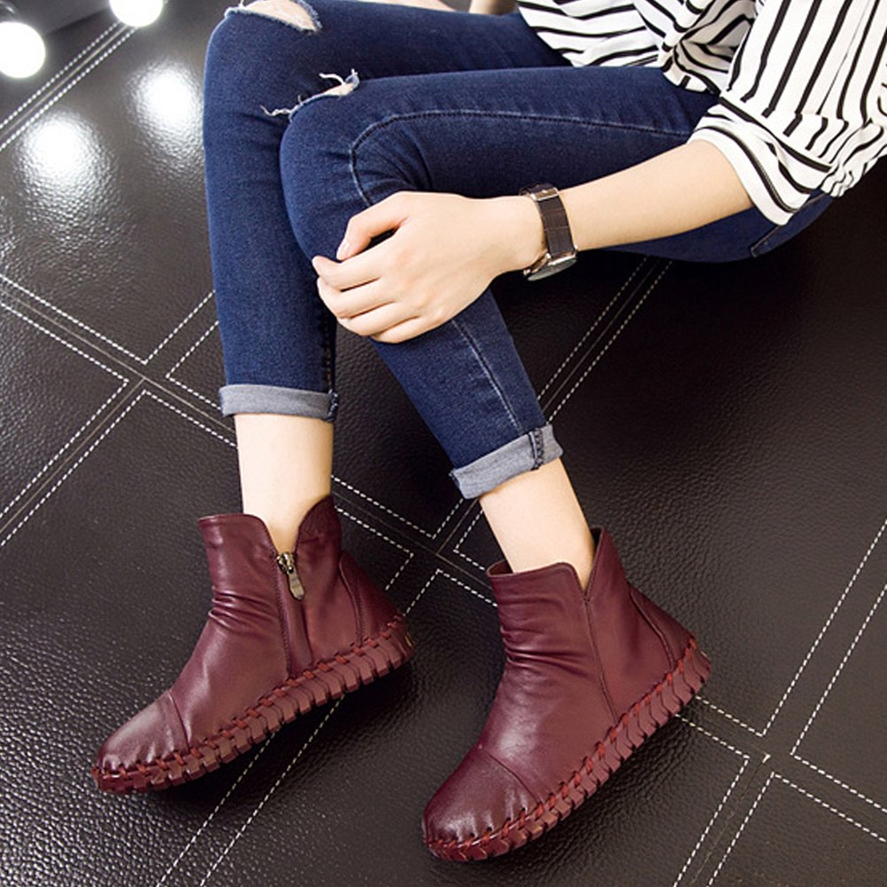 Mordenmiss Women's New Fall Winter Martin Flat Plain 2 Toe Boots B01L3DTEYK US?7.5//CH?39|Style 2 Plain Fleece Burgundy 3fb92d