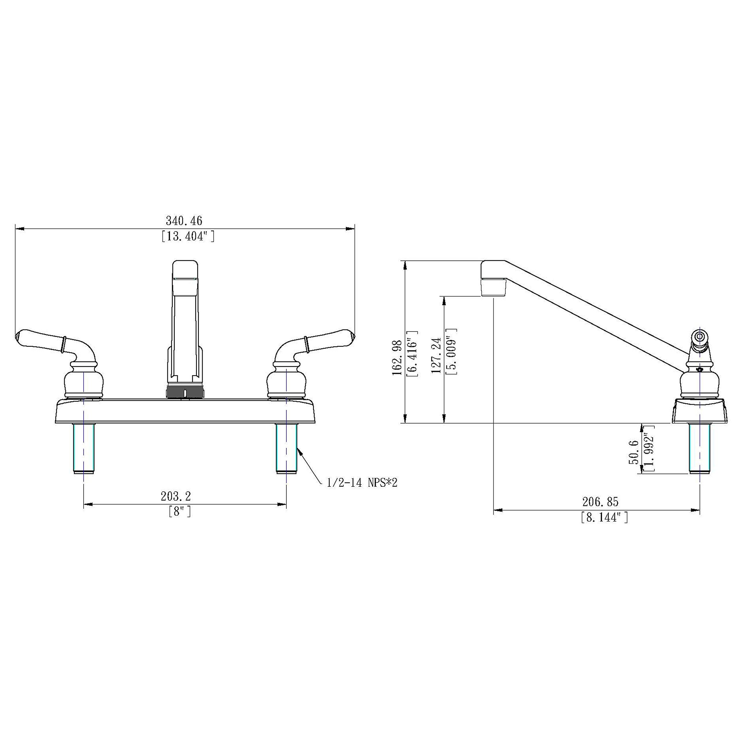 Builders Shoppe 1300CP RV Mobile Home Non-Metallic Swivel Kitchen Sink Faucet Chrome Finish