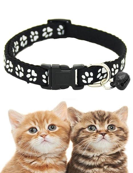 Zuionk Collar para gato con abrazadera, para mascotas y gatos, de piel suave,