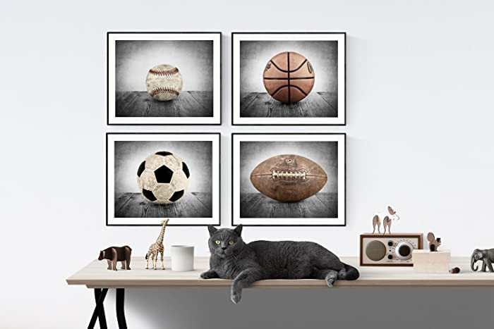 Amazon.com: Sports Themed Wall art for boys, Vintage Sports Set of 4 ...