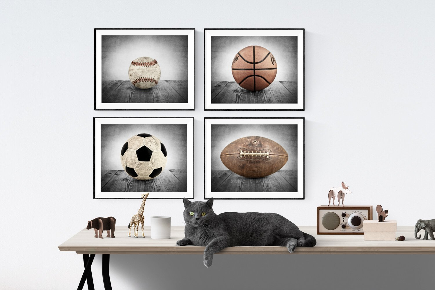 Sports Themed Wall art for boys, Vintage Sports Set of 4 Photo or Canvas prints ready to hang, multiple sizes available, Vintage themed baseball, basketball, soccer and football