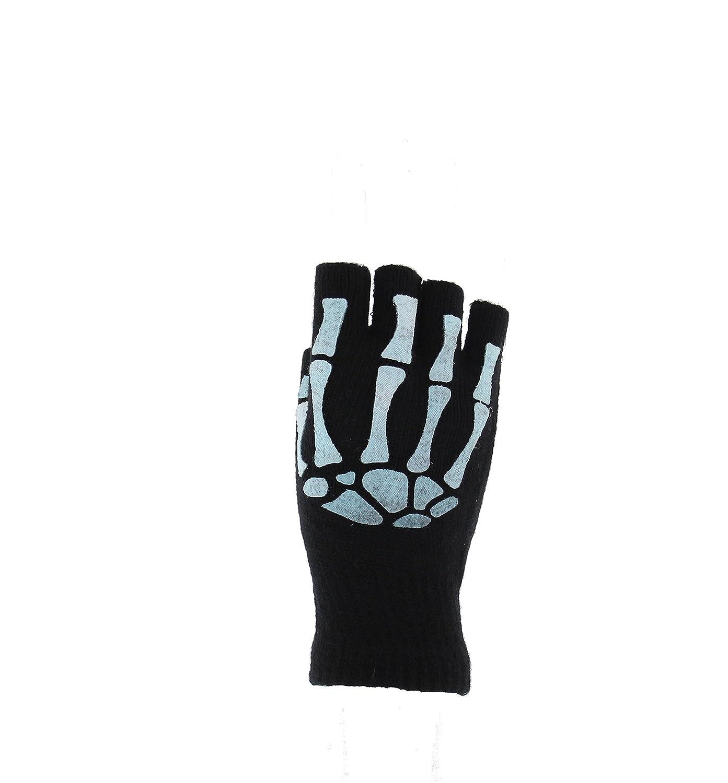 Zac's Alter Ego Men's Glow In The Dark Short Fingerless Skeleton Gloves Zac' s Alter Ego