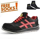 Zapatos de Seguridad Ultra-Ligeros - SAFETOE 7329 Zapatos Rojos Trabaja con Tus pies Bien protegidos para Hombres