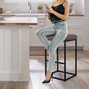 Maison Bar Height Bar Stool for Kitchen Counter Backless Industrial Stool Modern Upholstered Barstool Countertop Chair Saddle Seat Island Stool with PU Leather, 1 Stool (30 Inch, Brown)