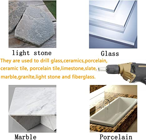 Brick Yadianna 10x Drill Bit Set for Tiles Tiles Ceramics and Mirrors Stone Concrete Glass