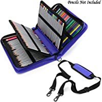 BTSKY Deluxe PU Leather Pencil Case for Colored Pencils - 160 Slot Pencil Holder (Blue)