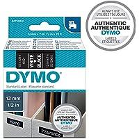 DYMO D1 Label Cassette Tape, 12mm x 7m, White/Black