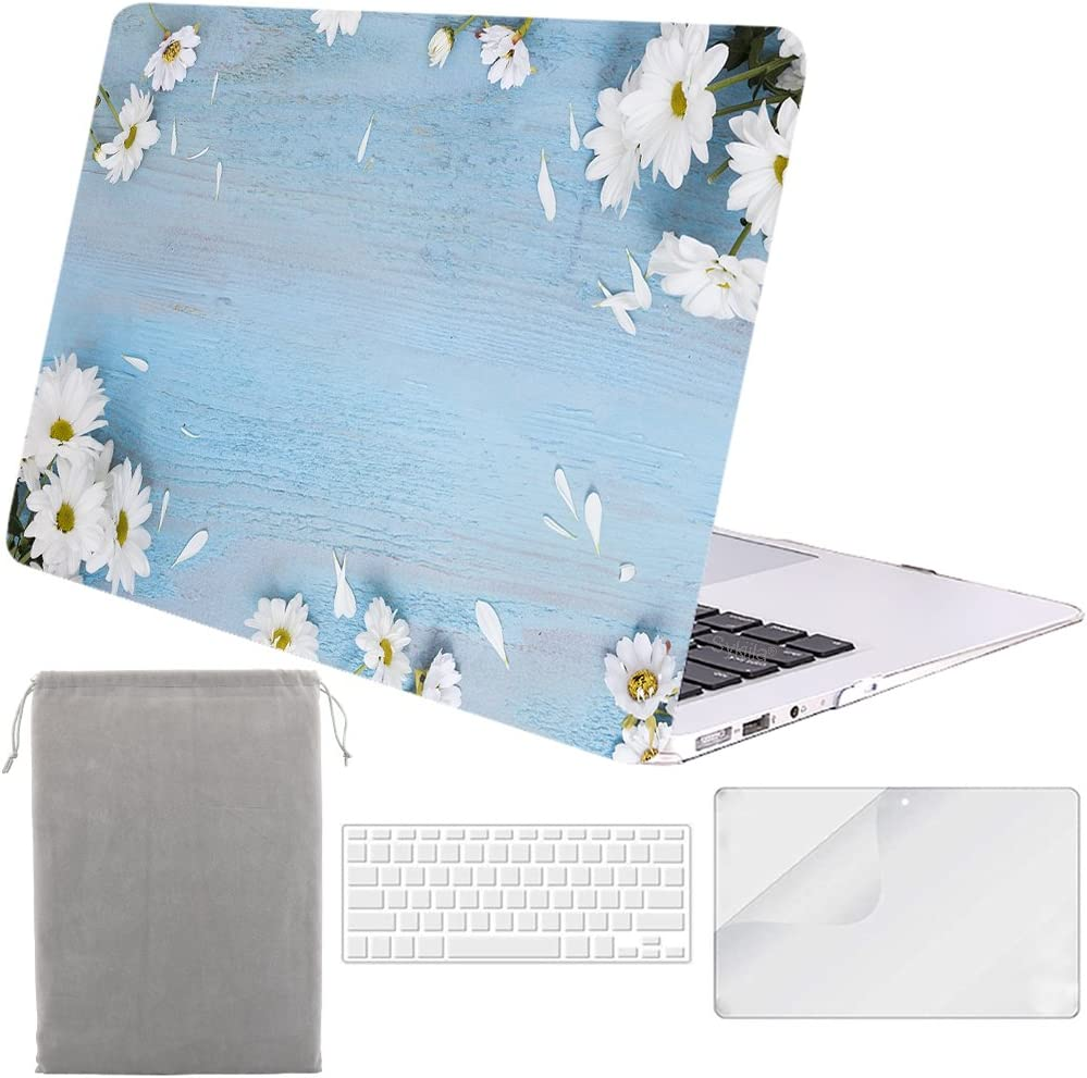 Sykiila for Older MacBook Air 13 Inch Case for 2010-2017 Old Version,Model A1369 / A1466 4 in 1 Hard Shell Case & HD Screen Protector & TPU Keyboard Cover & Sleeve - Floral on Wood