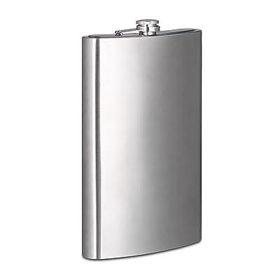 Relaxdays Flasque XXL 1,8 litre en inox fête cadeau mariage fiole alcool fort design, argenté