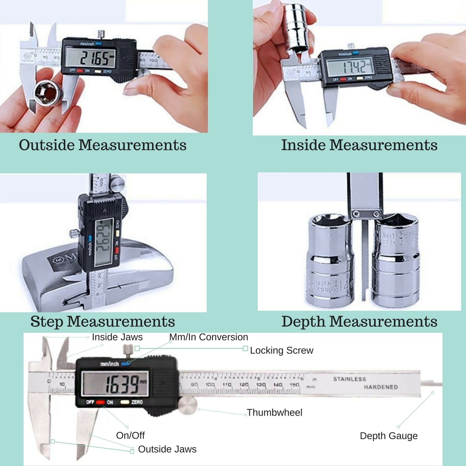 Electronic Digital Caliper 0-6 inch/150mm Vernier Extra Large LCD Screen, Stainless Steel Body, Conversion Millimeters Inches Precision Measurement Tool Depth Inside Step Outside Gauge Auto Off, Case by CaliFra (Image #3)