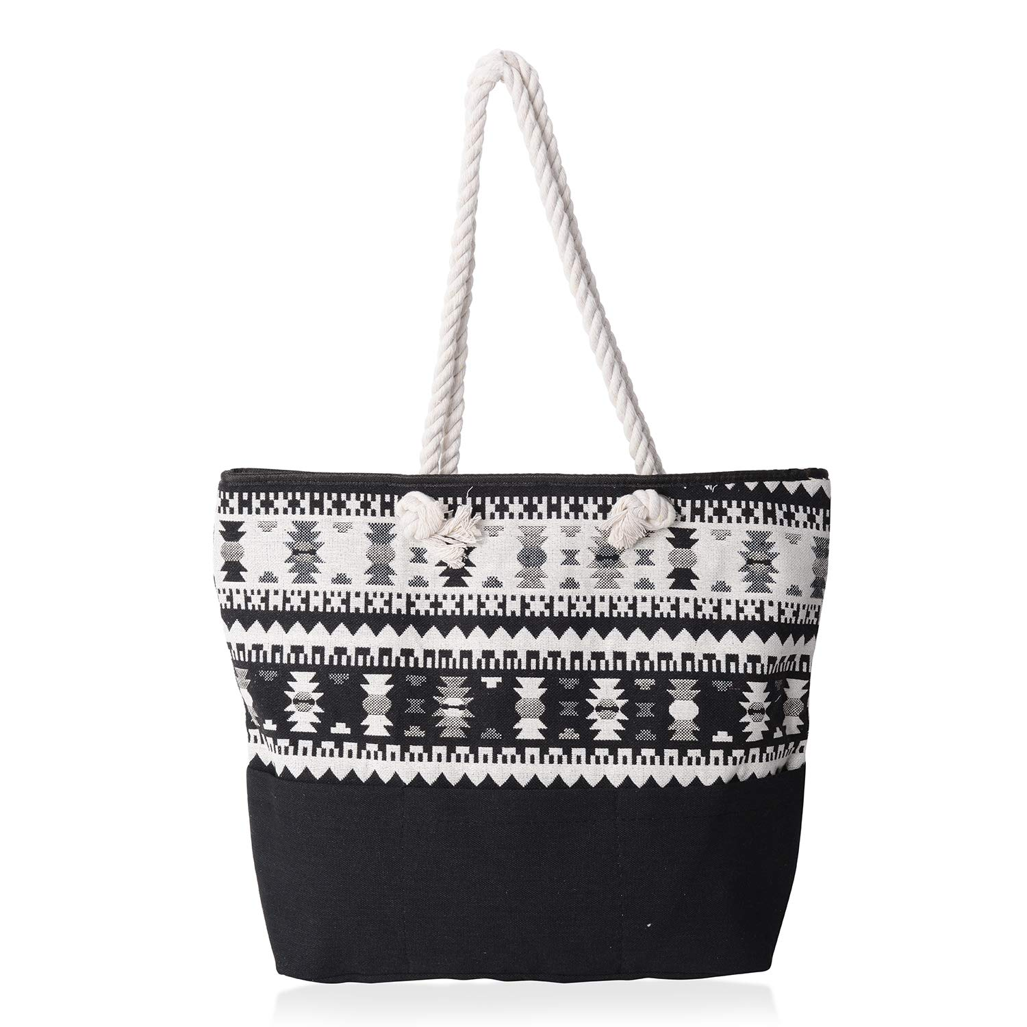 Black and White 100% Polyester Jacquard Tote Bag 19.2x14.6x15.4