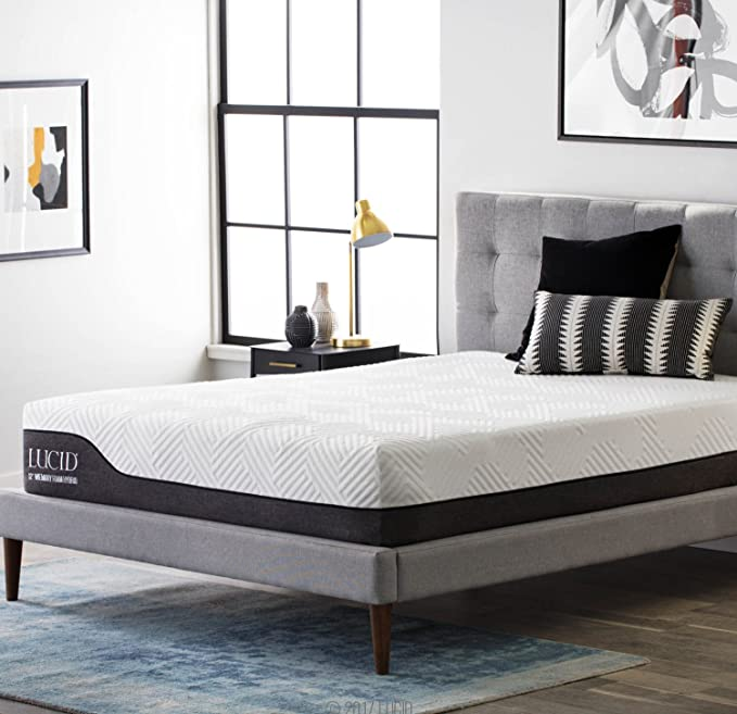 LUCID 12 Inch Queen Hybrid Mattress - All-Natural and Scented