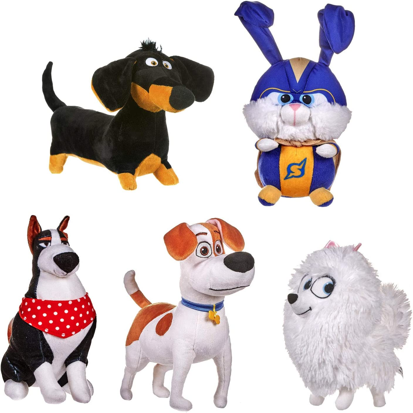 Max Secret Life Of Pets 2 Super Snowball /& Gidget Set of 5 Soft Plush 8 20cm Toy Rooster Buddy