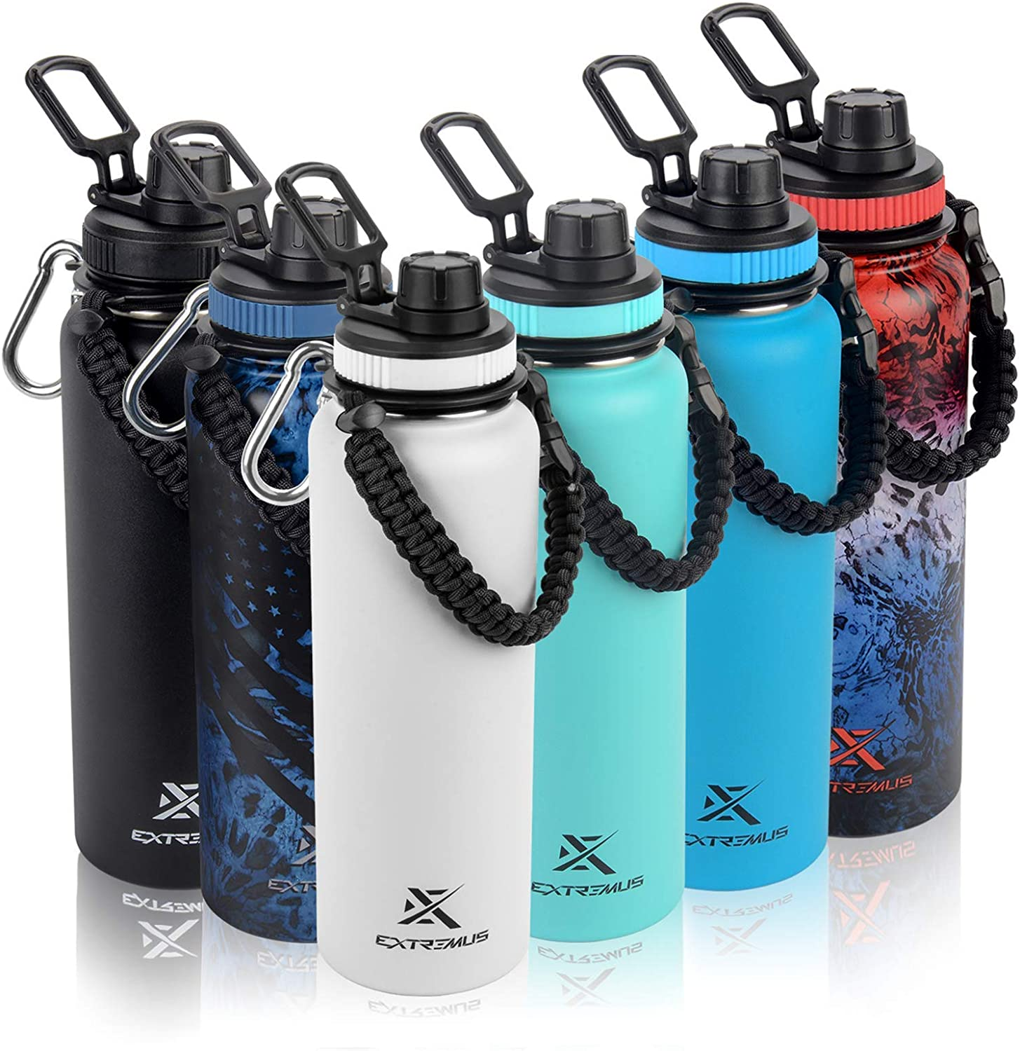Extremus Deluge Stainless Steel Vacuum Insulated Sports Water Bottle with Wide Mouth, 100% Leak-Proof Chug Travel Lid, Thermos, w/ Made in the USA Paracord Survival Handle , 32 oz, Black