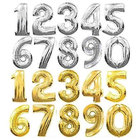 Globos grandes con forma de números, de aluminio dorado/plateado, globos para cumpleaños, bodas, fiestas, de 90 cm., película, dorado, 9