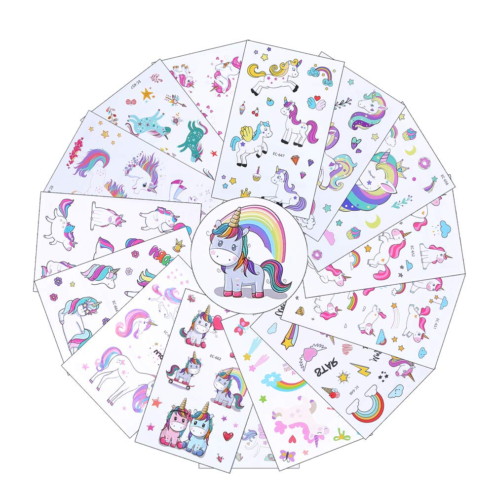 VEYLIN 25 Sheets Unicorn Tattoos Temporary Sticker for Kids Birthday Party Supplies