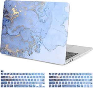 MOSISO MacBook Air 13 inch Case 2020 2019 2018 Release A2179/A1932, Plastic Hard Shell, Keyboard Cover Skin Compatible with MacBook Air 13 inch with Retina Display & Touch ID, Blue Watercolor Marble