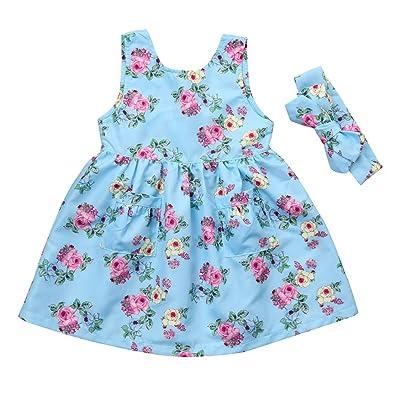 AliveGOT Sky Blue One-Piece Flower Print Sleeveless Tutu Princess Dress Skirt+Cute Headband Set