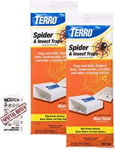 Terro T3206 Spider & Insect Trap 2 pack of 4. (8 traps Total) - Also includes Single Moth Trap Made by Q-Traps