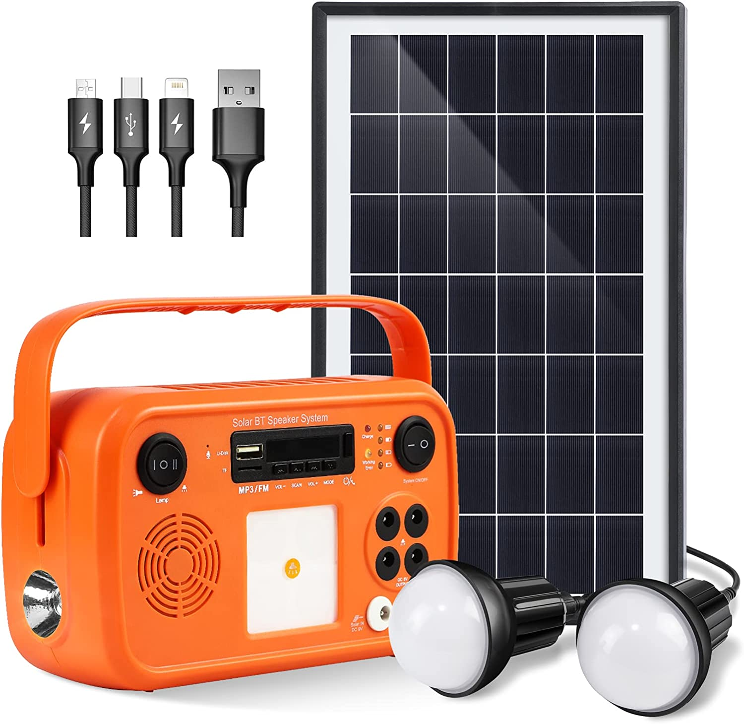 Portable Power Station With Solar Panel Kit Solar Generator Included Battery Generator Camping Generator Solar Panels For Homes Emergency Solar Plug Outlet Generator Outdoor Camping With Fm Radio