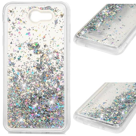 online retailer d9d24 167b1 Galaxy J7 V J7V Case, Liquid Glitter Case Bling Shiny Sparkle Flowing  Moving Love Hearts Cover Clear Ultral Slim Protective TPU Bumper Shockproof  Drop ...