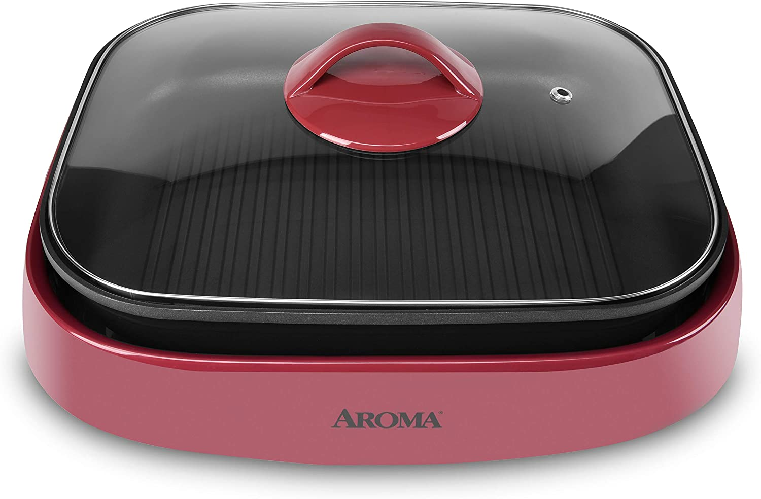 Aroma Housewares ASP-266R Indoor Grill, multi-use pot, skillet, 6-Quart, Red