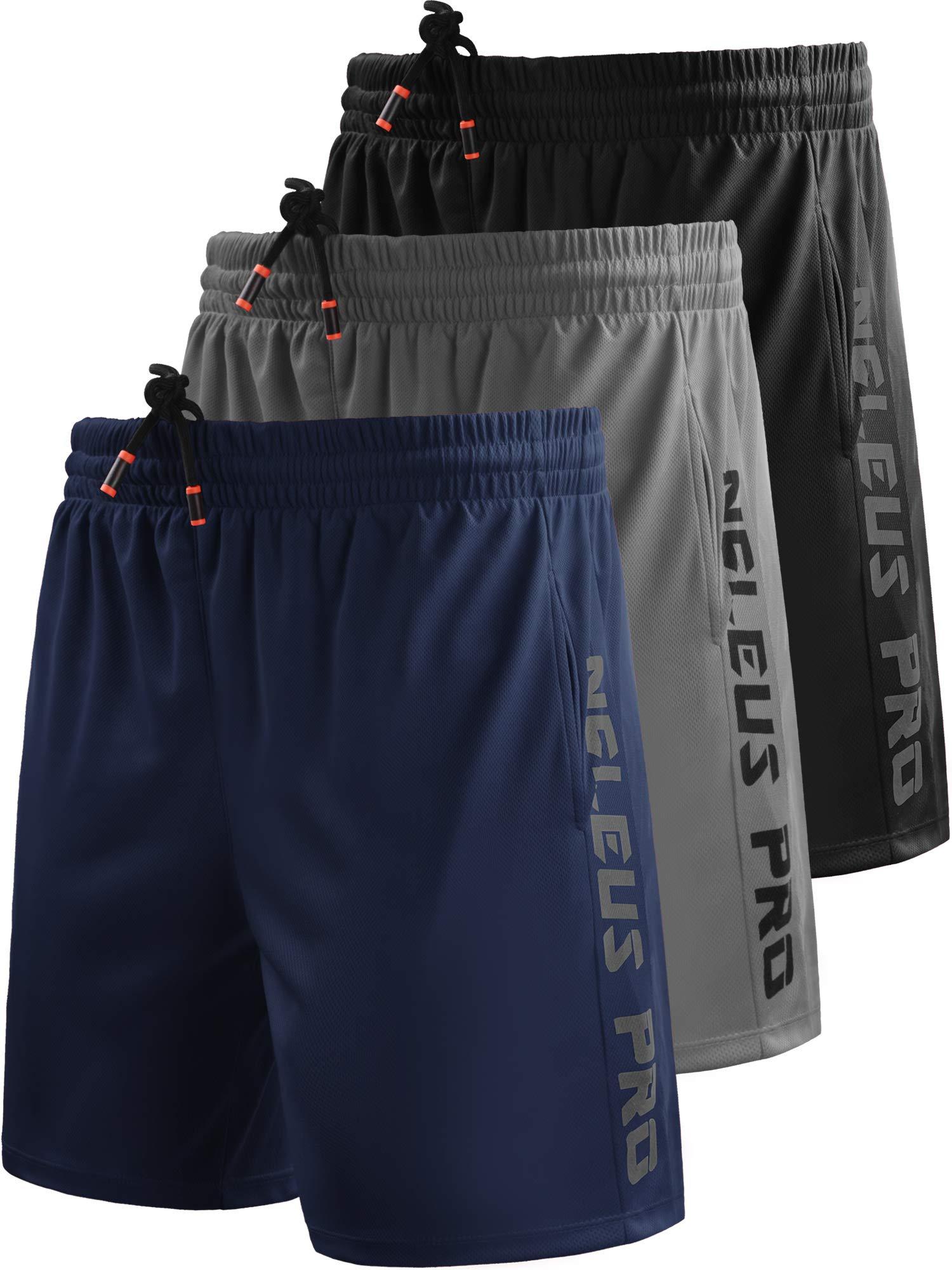 Neleus Men's 7'' Workout Running Shorts with Pockets,6056,3 Pack,Black/Grey/Navy Blue,XL,EU 2XL by Neleus
