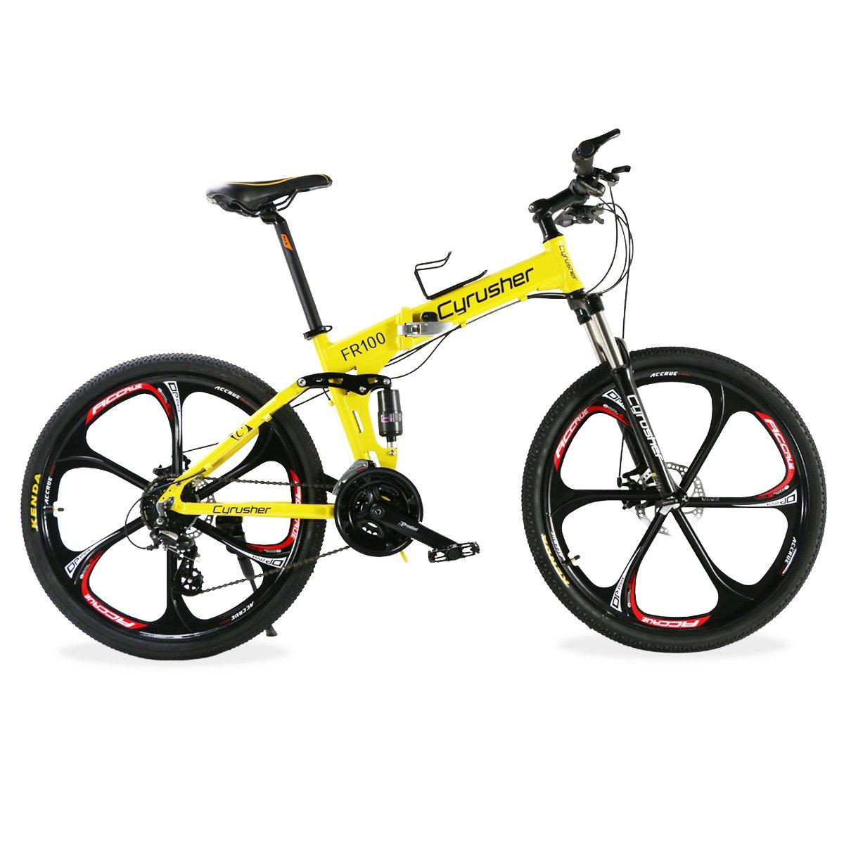 Extrbici FR100 自転車 マウンテンバイク 折りたたみ MTB シマノ24段変速 ディスクブレーキ フルサスペンション アルミフレーム 26インチ 一体式リム 軽量 泥除け付き B075R4H76C イエロー イエロー