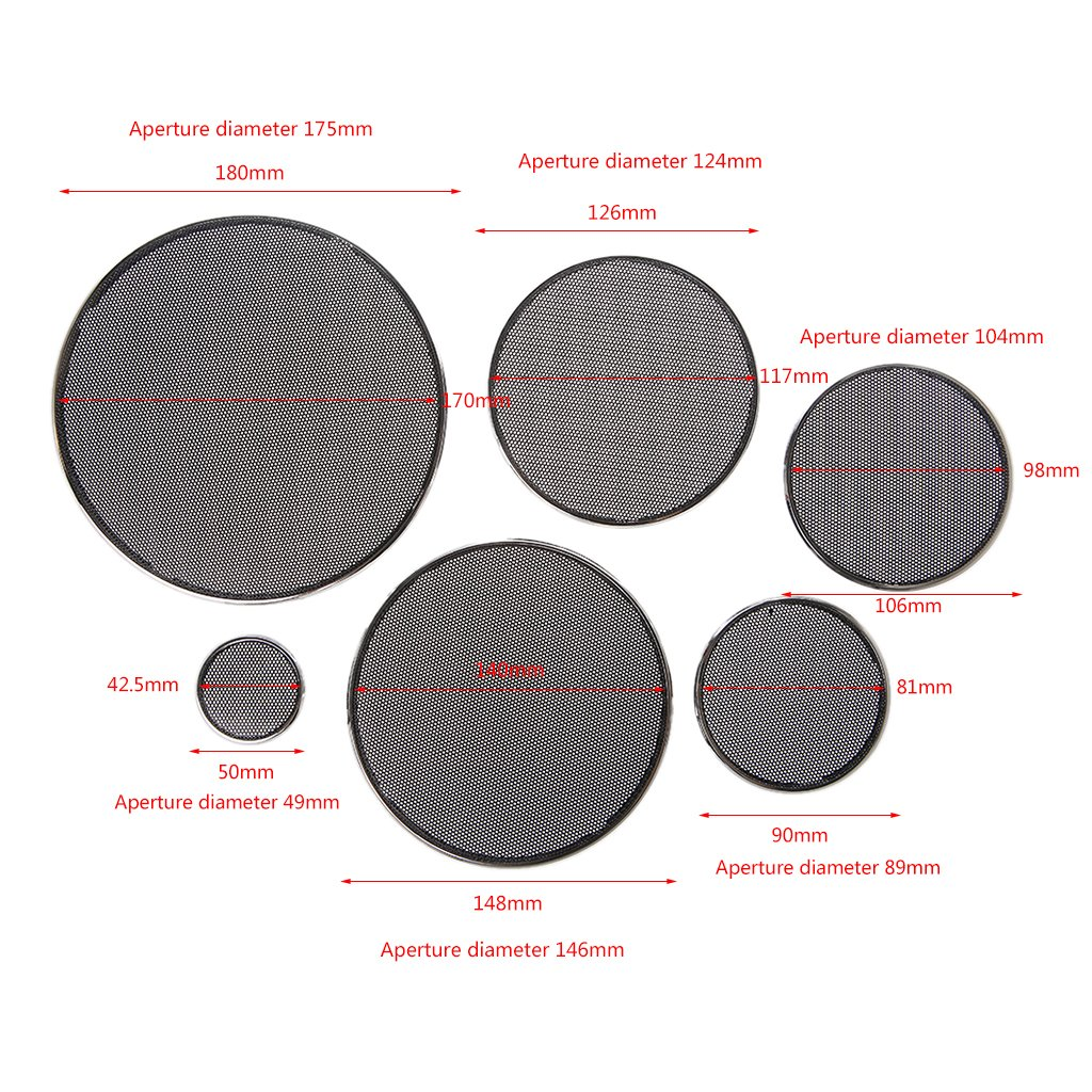Negro SimpleLife 1//2//3//4//5//6.5 Pulgadas Rejillas de Altavoz Funda Redonda Parrilla Protector C/írculo Decorativo C/írculo Decorativo Accesorios de Audio-ABS
