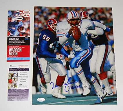 df3dfcf7c88 Houston Oilers Warren Moon Autographed Signed 11x14 Photo NFL With HOF 06  Memorabilia - JSA Authentic at Amazon's Sports Collectibles Store