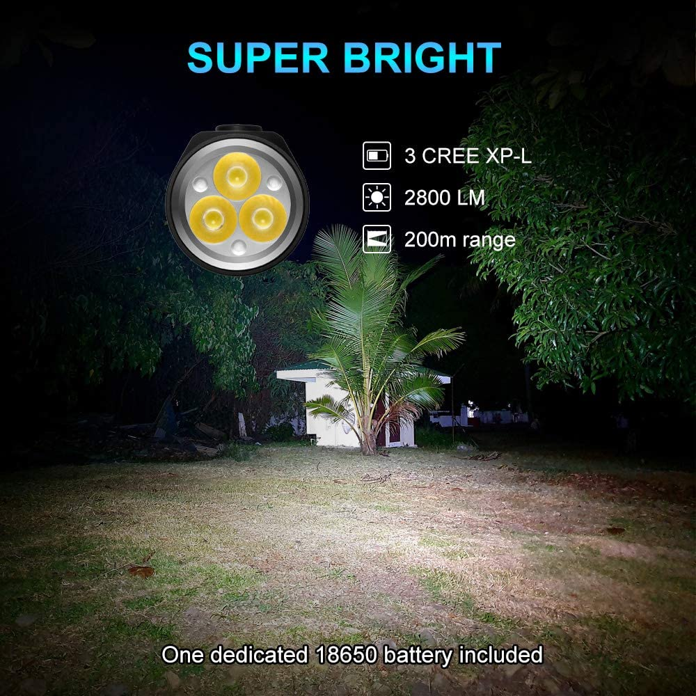 Small Flashlight High Lumens up to 2800Lm with CREE LED 6500k LUMINTOP LED Flashlight EDC 18 EDC Flashlight Powered by 18650 Battery with Magnetic Tail IP68 Water-Resistant.
