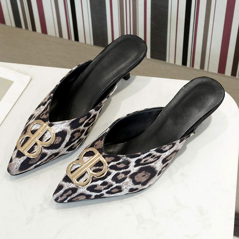 QDKM Metal Logo Women Slippers Spring Outside Mules Shoes Thin High Heel Flock Plaid Leopard Female Flip Flops