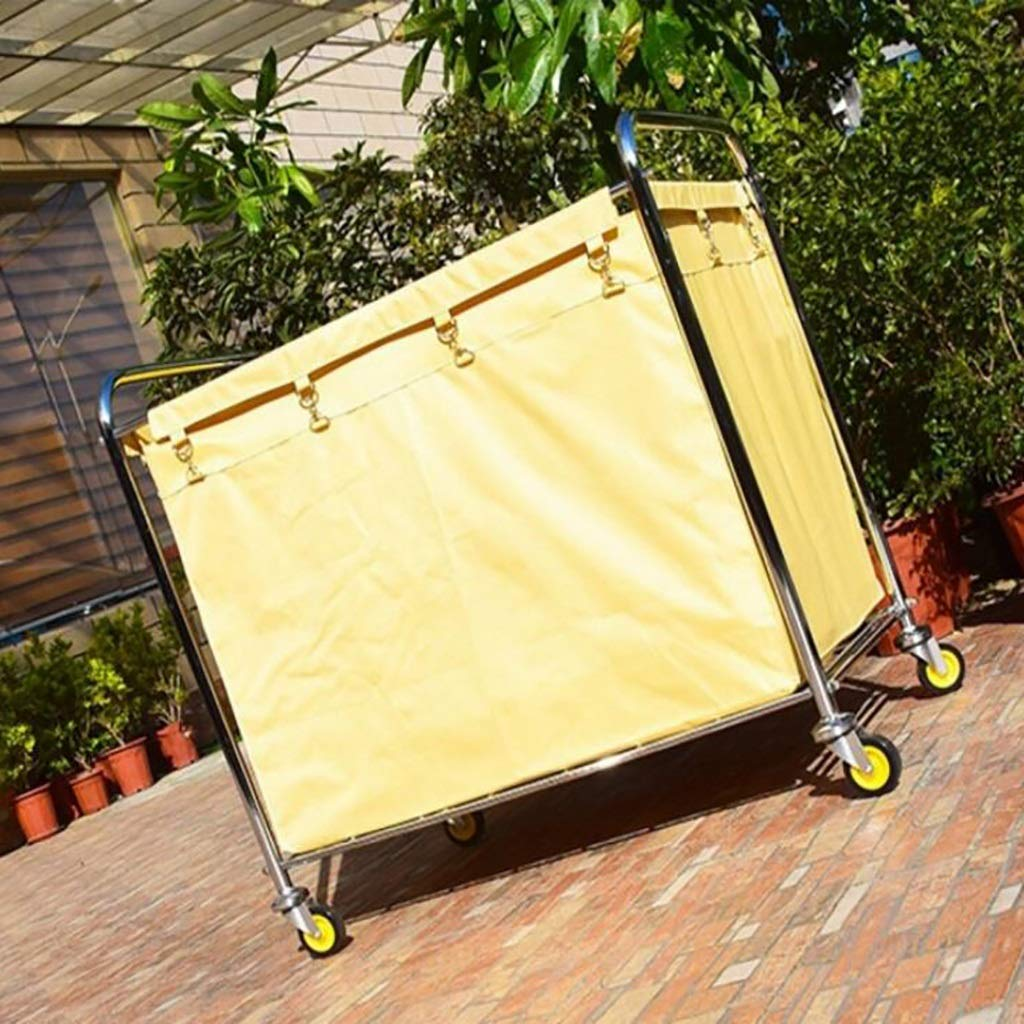 Hotel cart, Stainless Steel Thick Linen car Hotel Hotel Room Cleaning Hand Push Work car by HT trolley (Image #4)