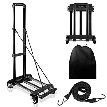 6f805abe0121 KOMEX Folding Hand Truck 100 Kg/220 lbs Capacity Heavy Push Cart Dolly Duty  Luggage Trolley Cart with Telescoping Handle for Luggage, ...