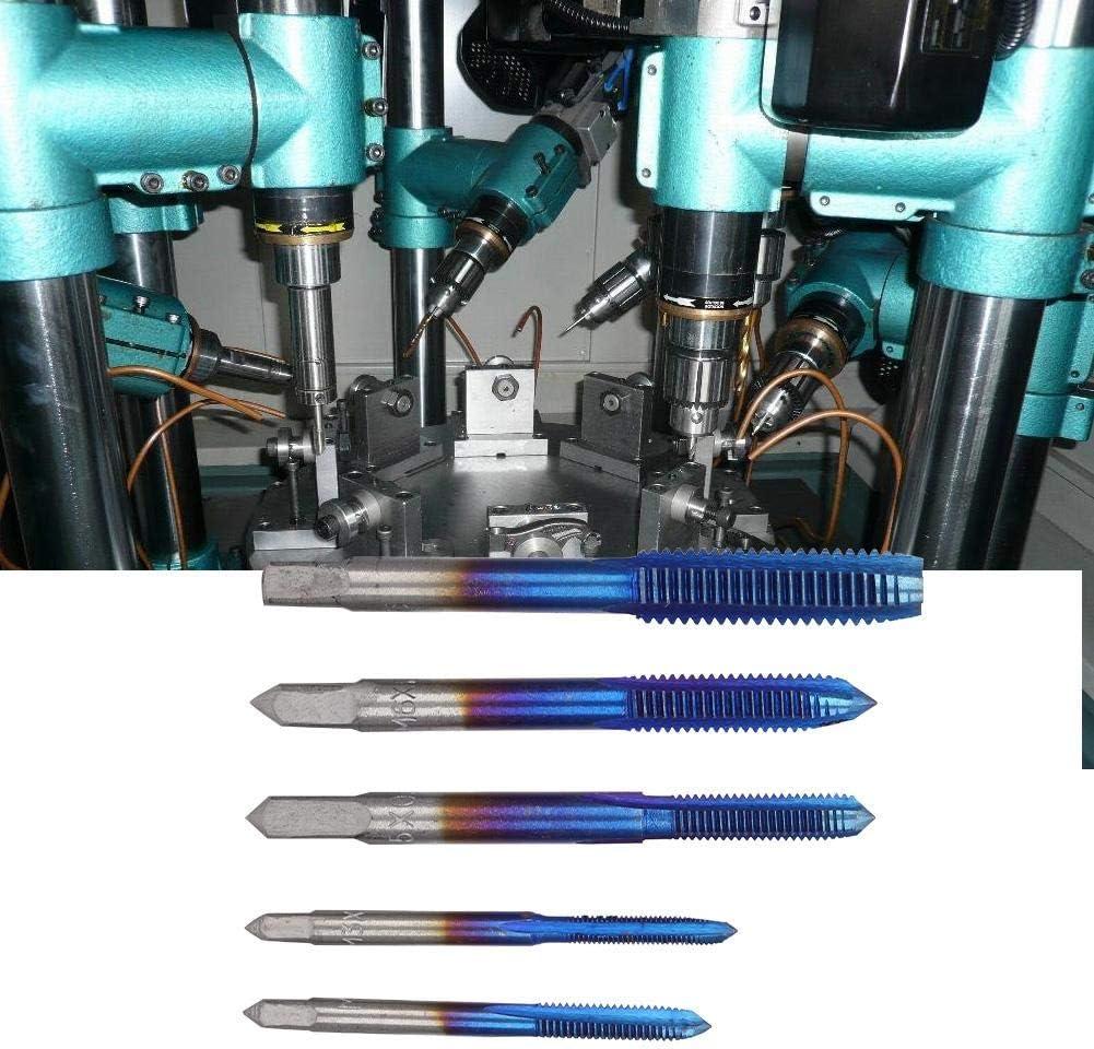 5-tlg Ti Coated Schnellarbeitsstahl-Gewindebohrwerkzeug M3 M4 M5 M6 M8 Geeignet zum Gewindeschneiden an Werkzeugmaschinen Gewindebohrer Handgewindeschneidgewindebohrer-Set