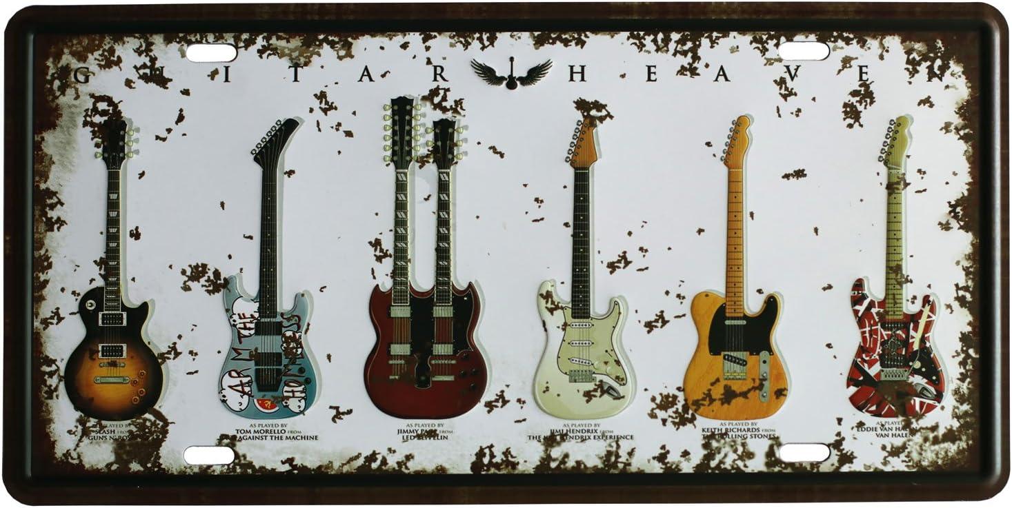 SUMIK Guitar Rock Music Metal Tin Sign, Vintage Art Poster Plaque Bedroom Den Home Bar Wall Decor