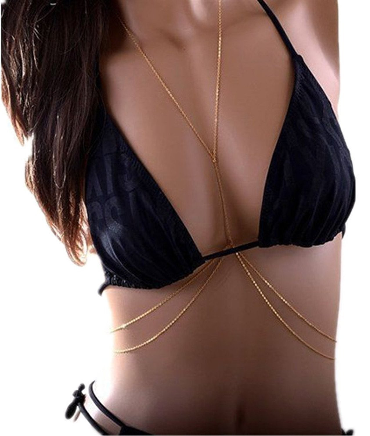 Bestjybt Fashion Women Sexy Golden Body Belly Waist Charm Chain Bikini Beach Pendant Necklace